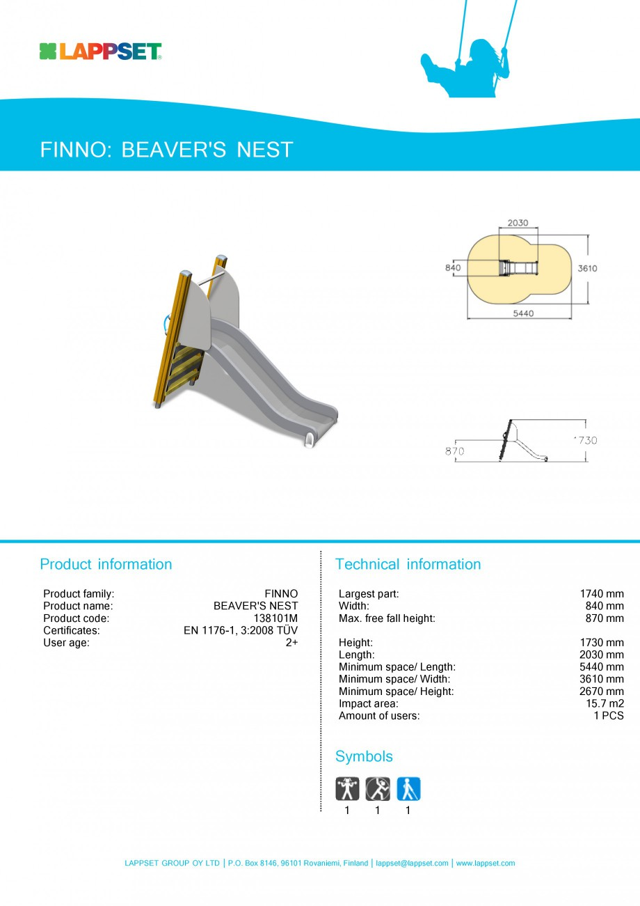 Pagina 1 - Echipament de joaca pentru copii - BEAVER'S NEST 138101M LAPPSET NEW FINNO Fisa...