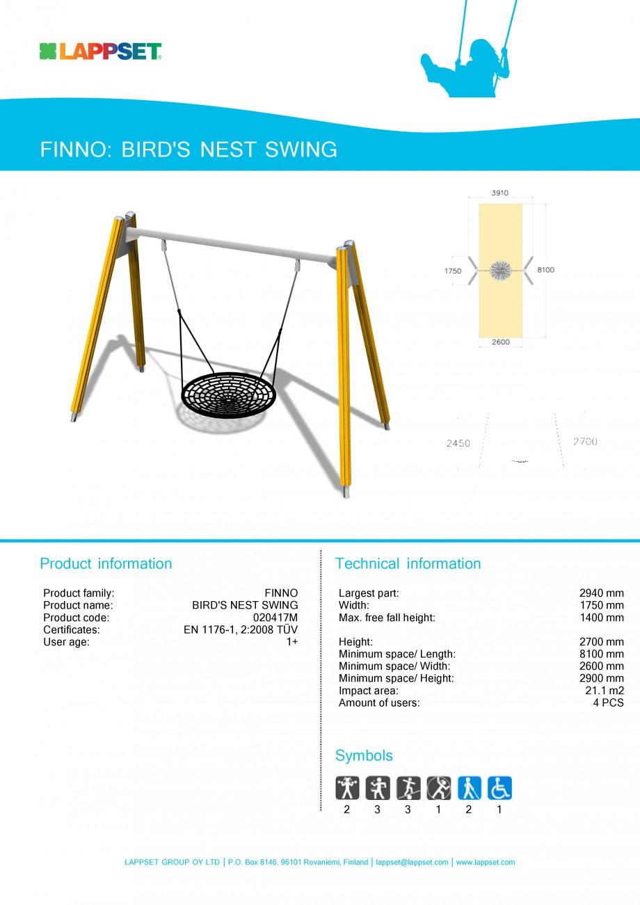 Pagina 1 - Echipament de joaca pentru copii - BIRD'S NEST SWING 020417M LAPPSET NEW FINNO Fisa ...
