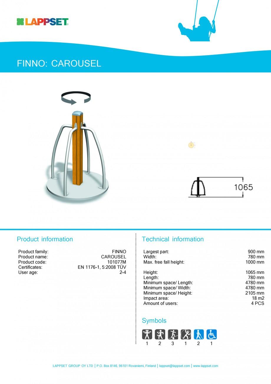 Pagina 1 - Echipament de joaca pentru copii - CAROUSEL 101077M LAPPSET NEW FINNO Fisa tehnica...