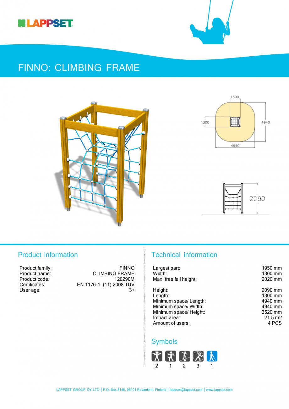Pagina 1 - Echipament de joaca pentru copii - CLIMBING FRAME 120290M LAPPSET NEW FINNO Fisa tehnica ...