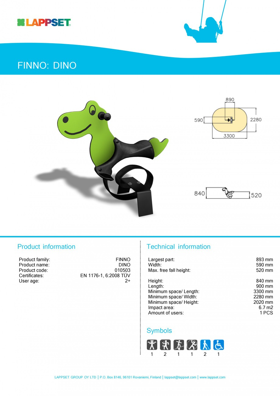 Pagina 1 - Echipament de joaca pentru copii - DINO 010503 LAPPSET NEW FINNO Fisa tehnica Engleza...