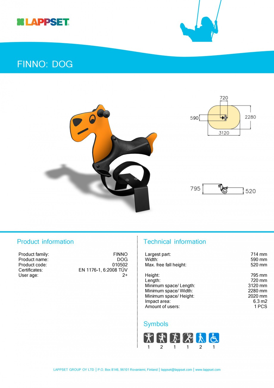 Pagina 1 - Echipament de joaca pentru copii - DOG 010502 LAPPSET NEW FINNO Fisa tehnica Engleza...