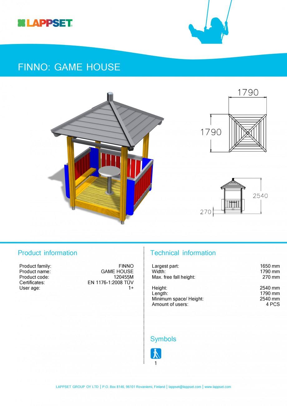 Pagina 1 - Echipament de joaca pentru copii - GAME HOUSE 120455M LAPPSET NEW FINNO Fisa tehnica...