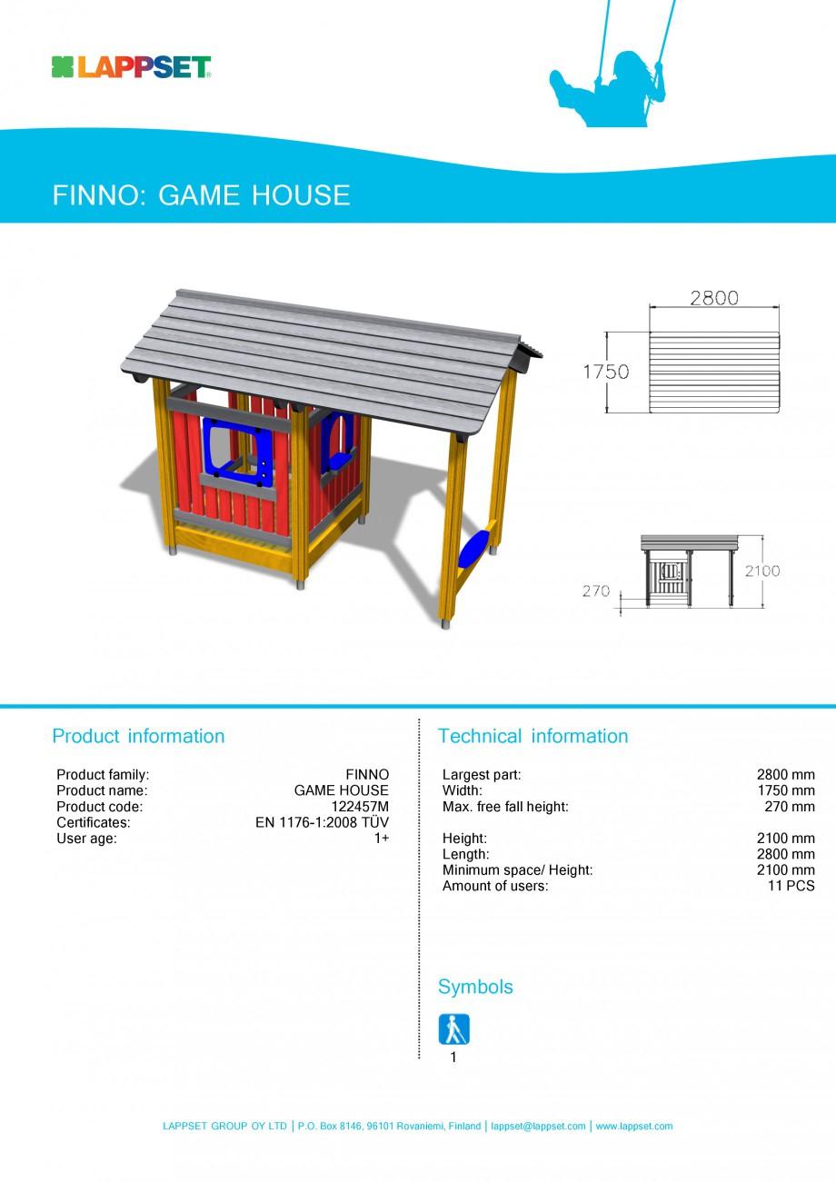 Pagina 1 - Echipament de joaca pentru copii - GAME HOUSE 122457M LAPPSET NEW FINNO Fisa tehnica...