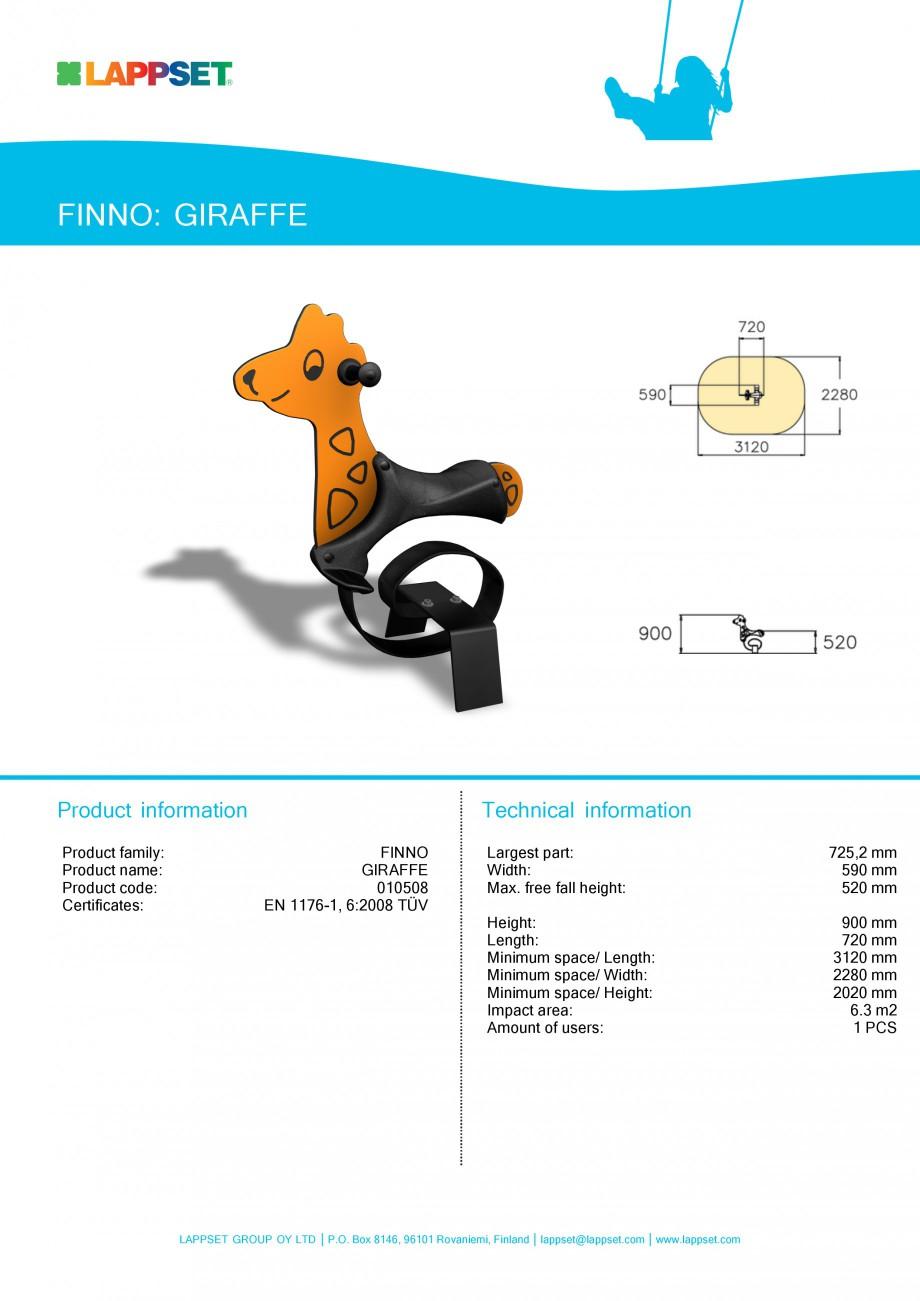 Pagina 1 - Echipament de joaca pentru copii - GIRAFFE 010508 LAPPSET NEW FINNO Fisa tehnica Engleza ...