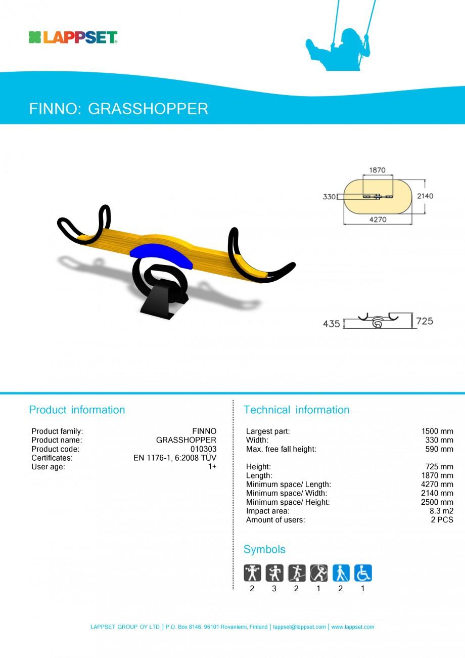 Pagina 1 - Echipament de joaca pentru copii - GRASSHOPPER 010303 LAPPSET NEW FINNO Fisa tehnica...