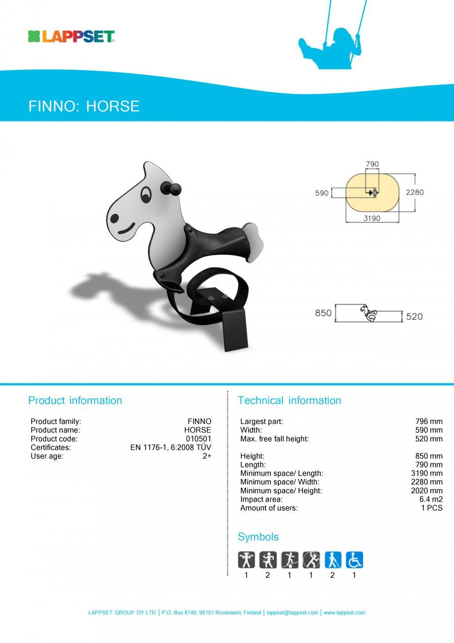 Pagina 1 - Echipament de joaca pentru copii - HORSE 010501 LAPPSET NEW FINNO Fisa tehnica Engleza...