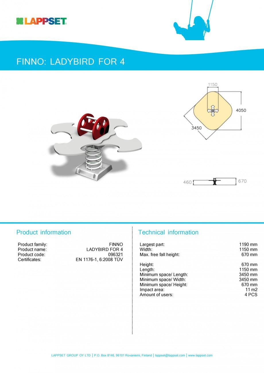 Pagina 1 - Echipament de joaca pentru copii - LADYBIRD FOR 4 096321 LAPPSET NEW FINNO Fisa tehnica...