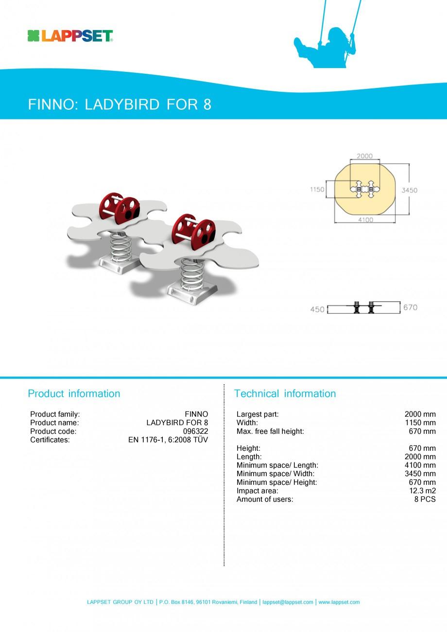 Pagina 1 - Echipament de joaca pentru copii - LADYBIRD FOR 8 096322 LAPPSET NEW FINNO Fisa tehnica...