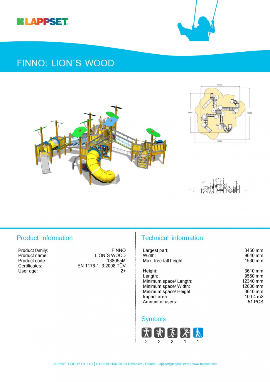 Pagina 1 - Echipament de joaca pentru copii - LION'S WOOD 138055M LAPPSET NEW FINNO Fisa...