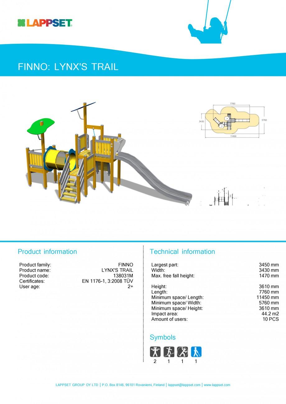 Pagina 1 - Echipament de joaca pentru copii - LYNX'S TRAIL 138031M LAPPSET NEW FINNO Fisa...