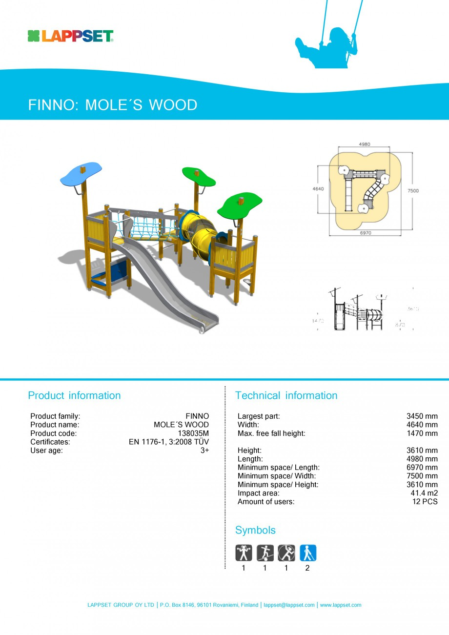 Pagina 1 - Echipament de joaca pentru copii - MOLE'S WOOD 138035M LAPPSET NEW FINNO Fisa...