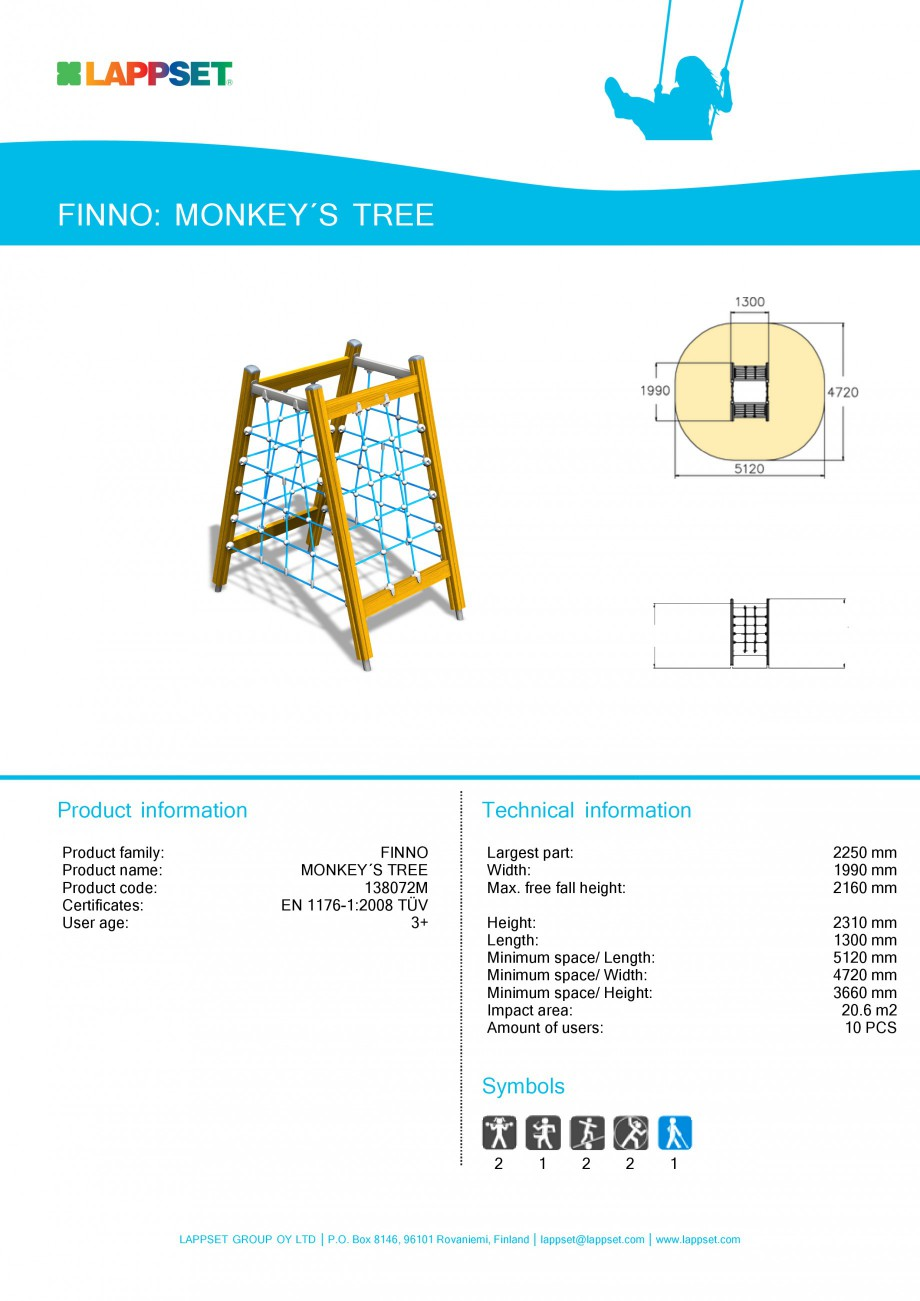 Pagina 1 - Echipament de joaca pentru copii - MONKEY'S TREE 138072M LAPPSET NEW FINNO Fisa...