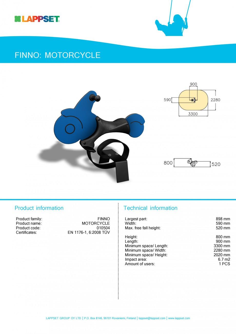 Pagina 1 - Echipament de joaca pentru copii - MOTORCYCLE 010504 LAPPSET NEW FINNO Fisa tehnica...