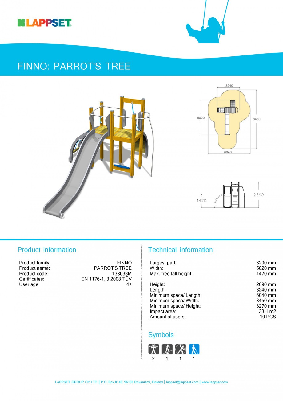 Pagina 1 - Echipament de joaca pentru copii - PARROT'S TREE 138033M LAPPSET NEW FINNO Fisa...