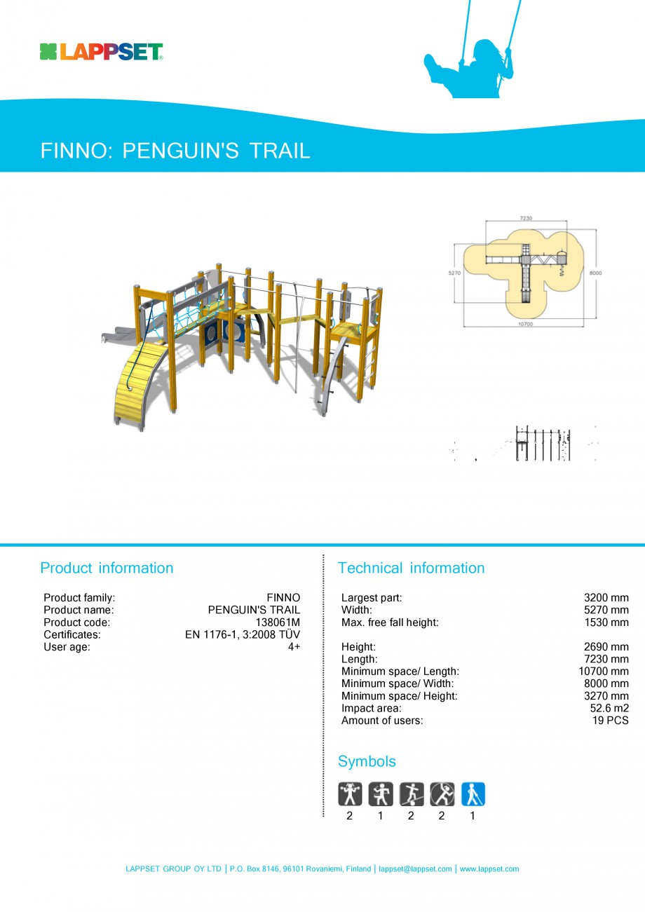 Pagina 1 - Echipament de joaca pentru copii - PENGUIN'S TRAIL 138061M LAPPSET NEW FINNO Fisa...
