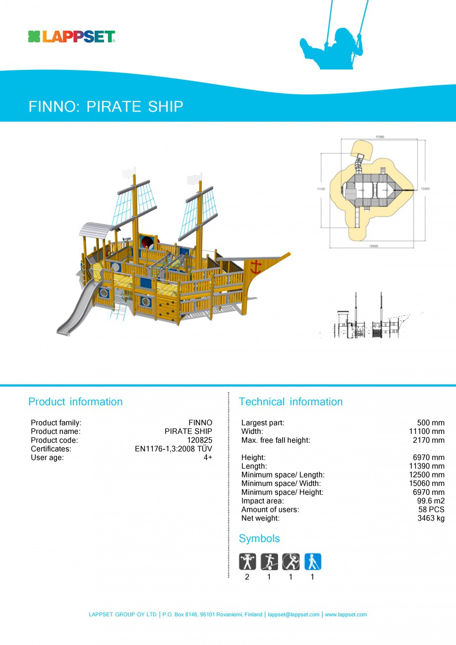 Pagina 1 - Echipament de joaca pentru copii - PIRATE SHIP 120825 LAPPSET NEW FINNO Fisa tehnica...