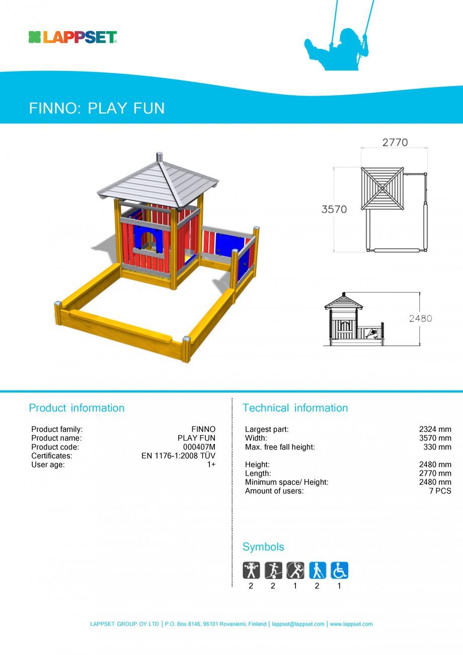 Pagina 1 - Echipament de joaca pentru copii - PLAY FUN 000407M LAPPSET NEW FINNO Fisa tehnica...