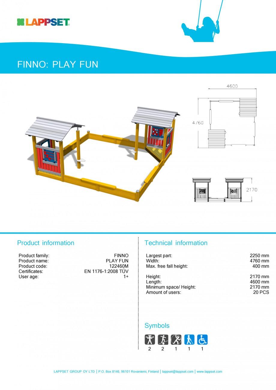 Pagina 1 - Echipament de joaca pentru copii - PLAY FUN 122460M LAPPSET NEW FINNO Fisa tehnica...
