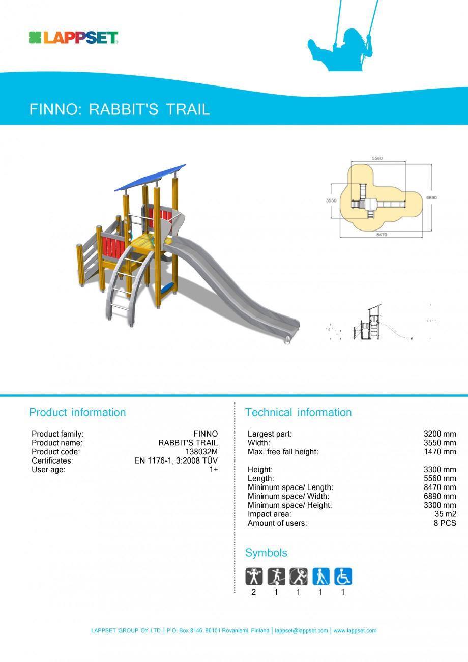 Pagina 1 - Echipament de joaca pentru copii - RABBIT'S TRAIL 138032M LAPPSET NEW FINNO Fisa...
