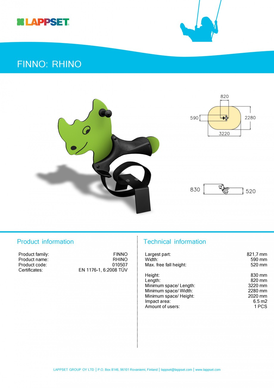 Pagina 1 - Echipament de joaca pentru copii - RHINO 010507 LAPPSET NEW FINNO Fisa tehnica Engleza...