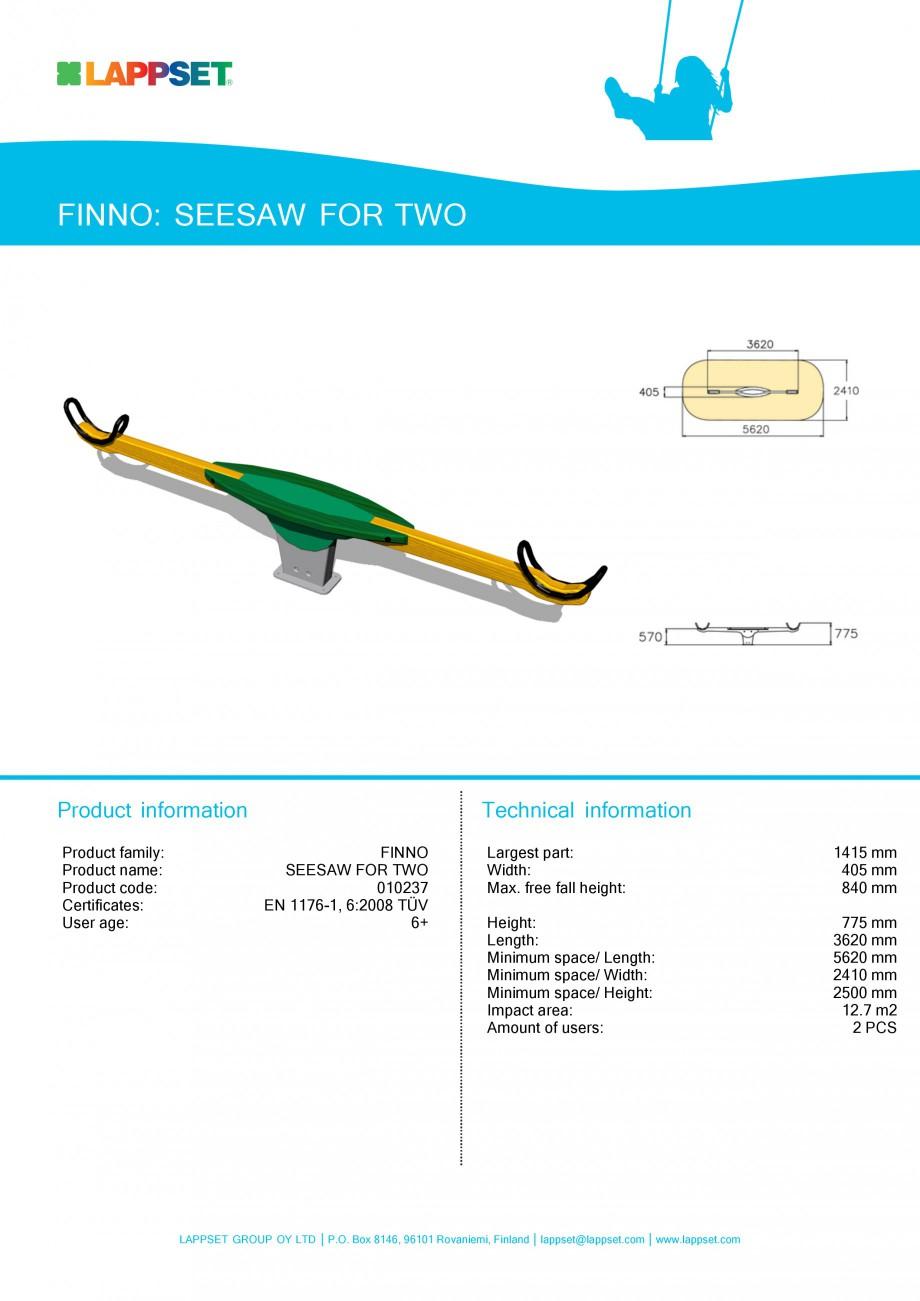 Pagina 1 - Echipament de joaca pentru copii - SEESAW FOR TWO 010237 LAPPSET NEW FINNO Fisa tehnica...