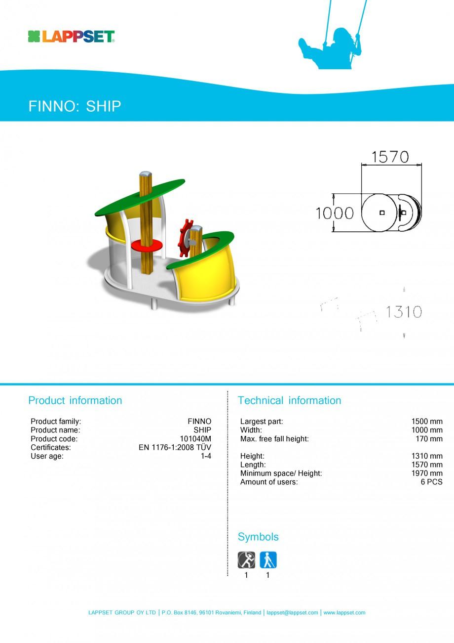 Pagina 1 - Echipament de joaca pentru copii - SHIP 101040M LAPPSET NEW FINNO Fisa tehnica Engleza...