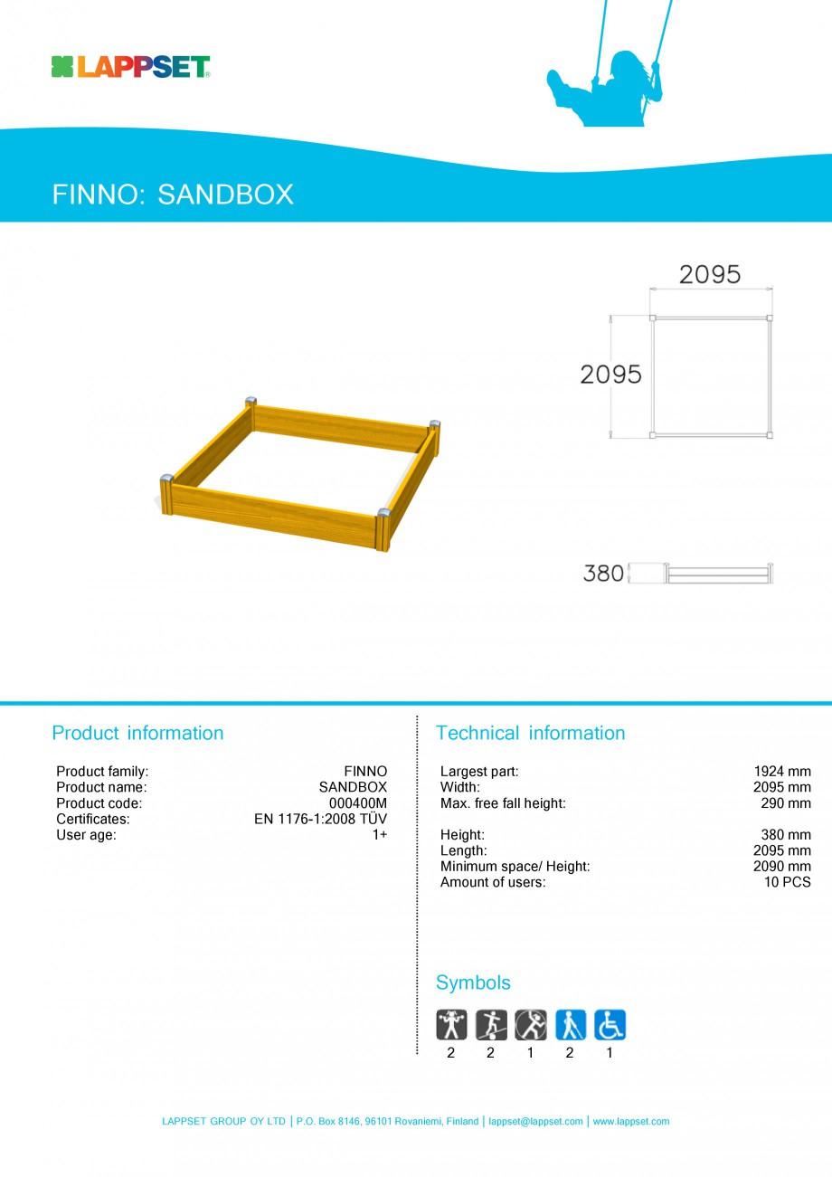 Pagina 1 - Echipament de joaca pentru copii - STANDBOX 000400M LAPPSET NEW FINNO Fisa tehnica...