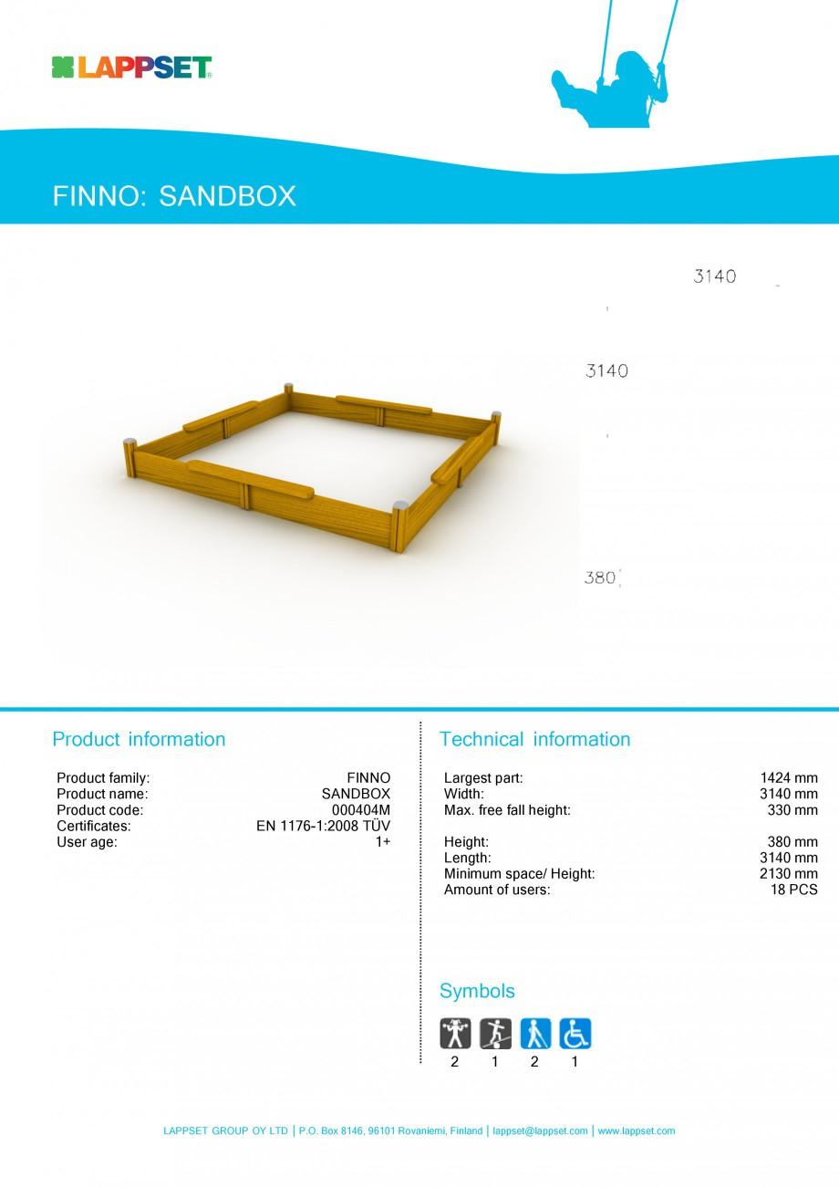 Pagina 1 - Echipament de joaca pentru copii - STANDBOX 000404M LAPPSET NEW FINNO Fisa tehnica...