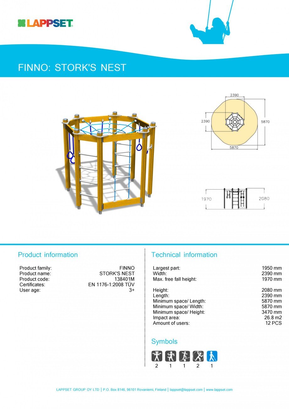 Pagina 1 - Echipament de joaca pentru copii - STORK'S NEST 138401M LAPPSET NEW FINNO Fisa...