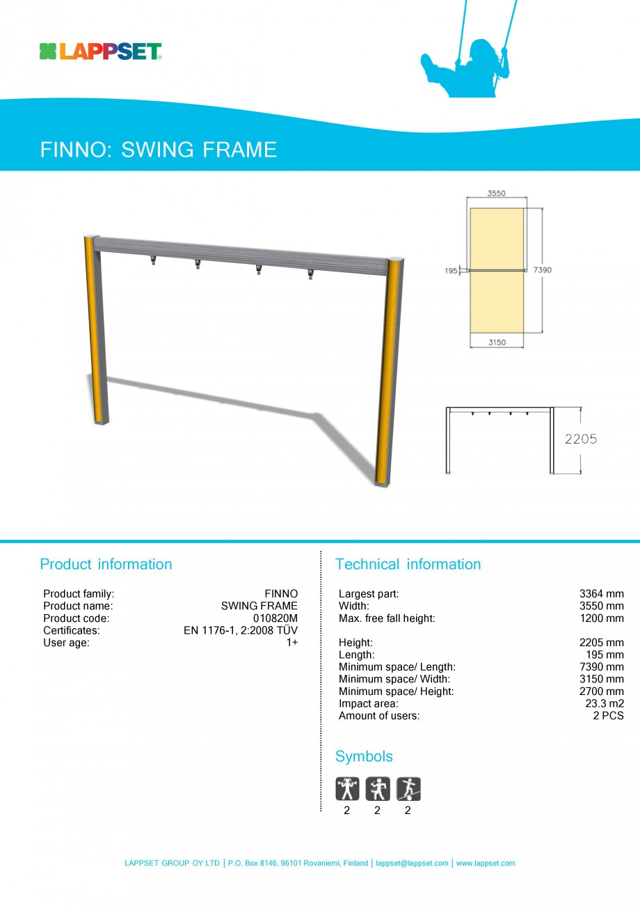 Pagina 1 - Echipament de joaca pentru copii - SWING FRAME 010820 LAPPSET NEW FINNO Fisa tehnica...