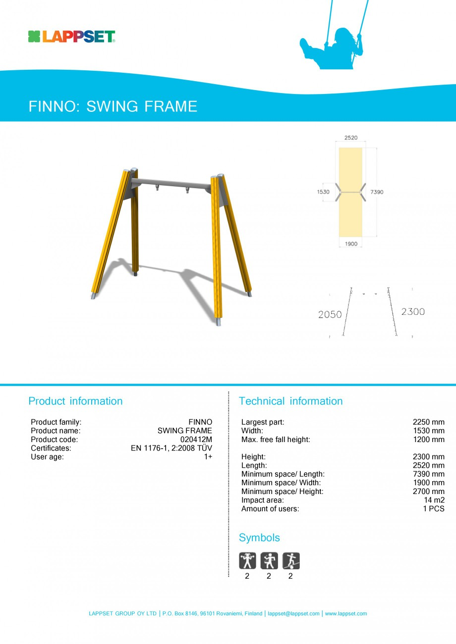 Pagina 1 - Echipament de joaca pentru copii - SWING FRAME 020412M LAPPSET NEW FINNO Fisa tehnica...