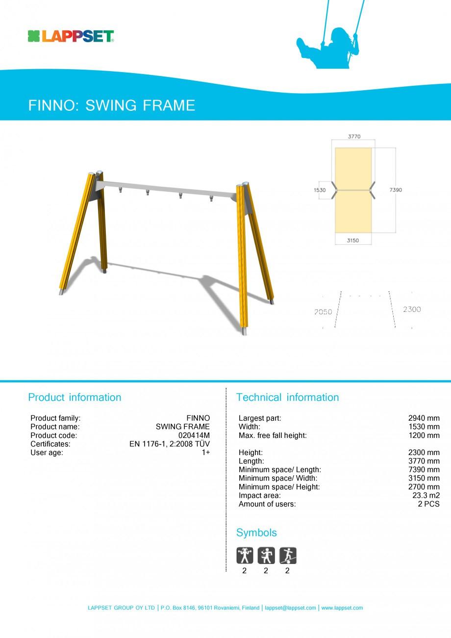 Pagina 1 - Echipament de joaca pentru copii - SWING FRAME 020414M LAPPSET NEW FINNO Fisa tehnica...