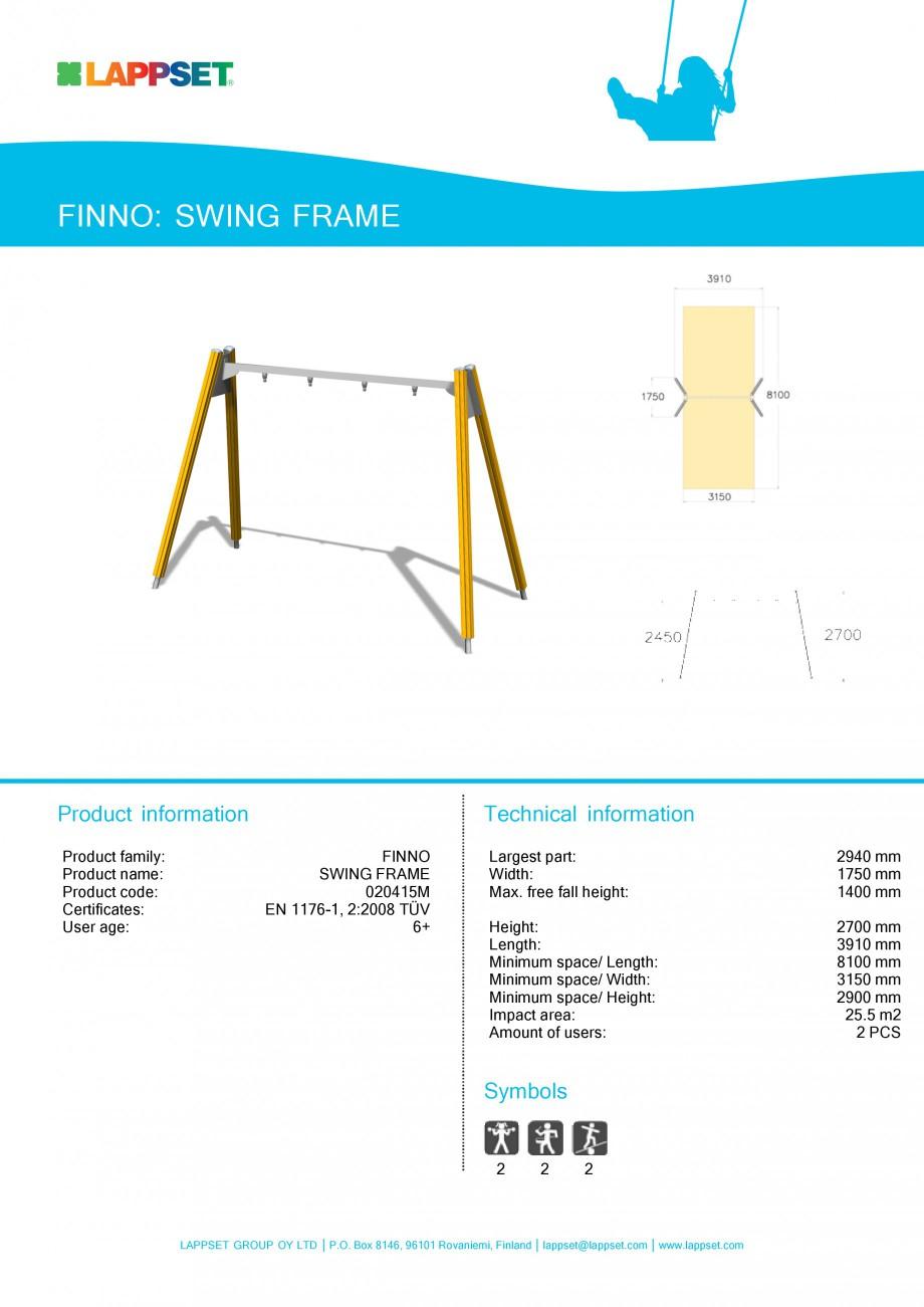 Pagina 1 - Echipament de joaca pentru copii - SWING FRAME 020415M LAPPSET NEW FINNO Fisa tehnica...