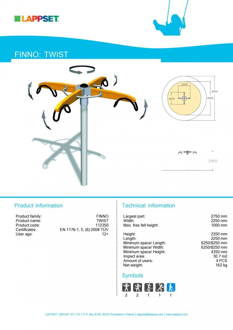 Pagina 1 - Echipament de joaca pentru copii - TWIST 112350 LAPPSET NEW FINNO Fisa tehnica Engleza...