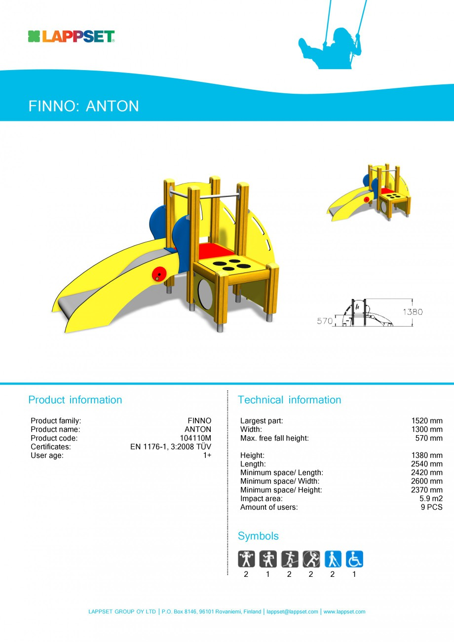 Pagina 1 - Echipament de joaca pentru copii sub 4 ani - ANTON 104110 LAPPSET FINNO ABC Fisa tehnica ...