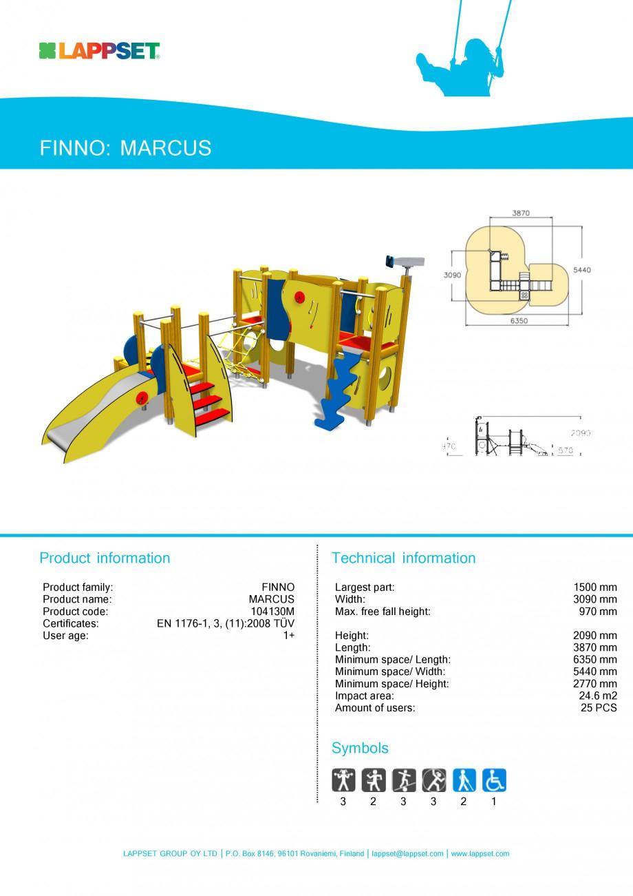 Pagina 1 - Echipament de joaca pentru copii sub 4 ani - MARCUS 104130 LAPPSET FINNO ABC Fisa tehnica...