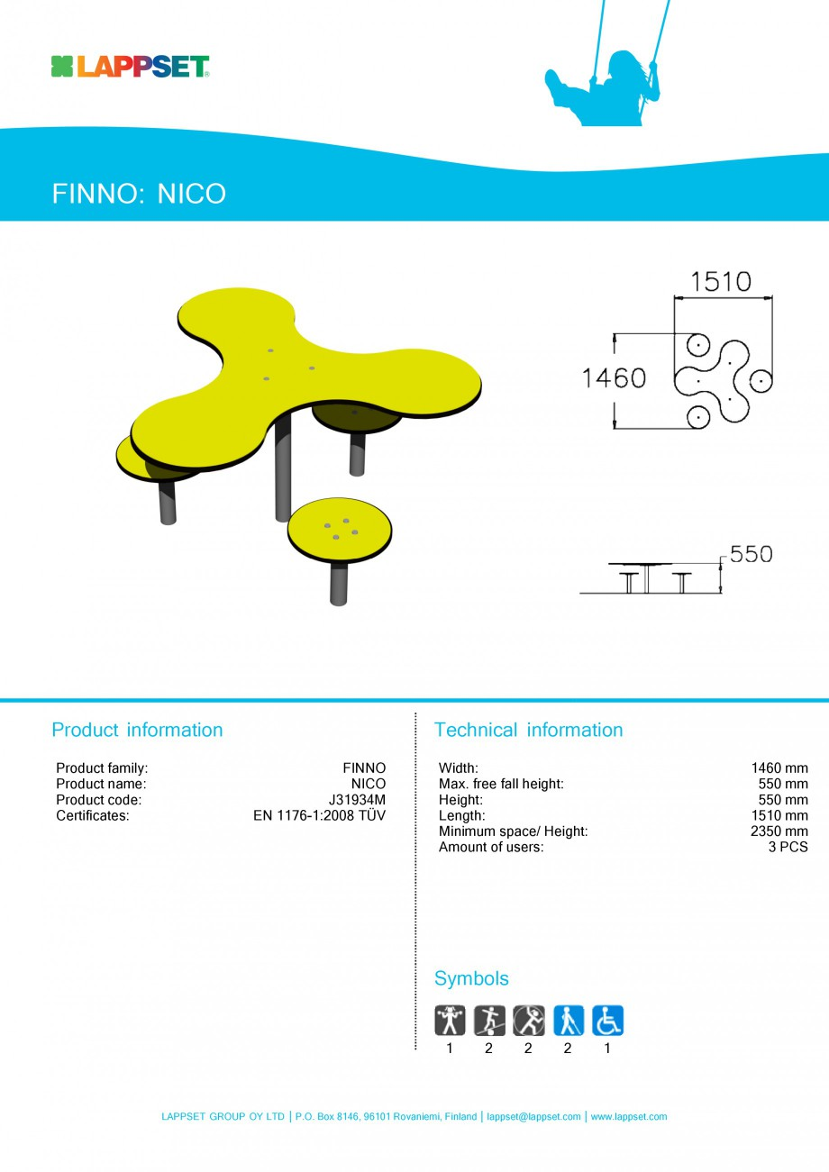 Pagina 1 - Echipament de joaca pentru copii sub 4 ani - NICO J31934 LAPPSET FINNO ABC Fisa tehnica...