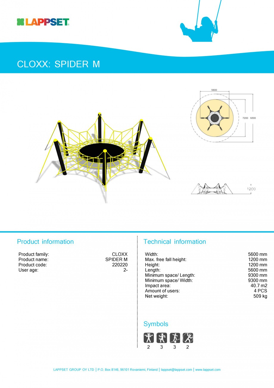 Pagina 1 - Echipament de joaca pentru copii SPIDER M 220220 LAPPSET CLOXX Fisa tehnica Engleza...