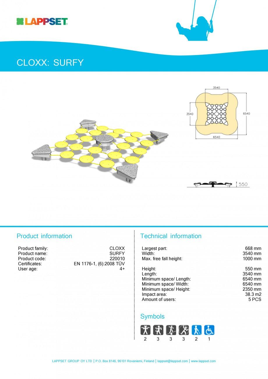 Pagina 1 - Echipament de joaca pentru copii SURFY 220010 LAPPSET CLOXX Fisa tehnica Engleza CLOXX:...