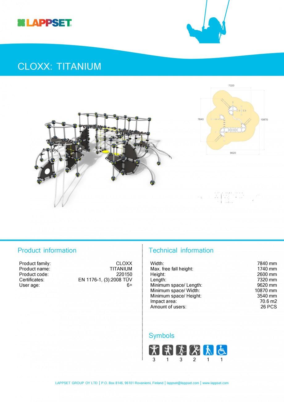 Pagina 1 - Echipament de joaca pentru copii TITANIUM 220150 LAPPSET CLOXX Fisa tehnica Engleza...