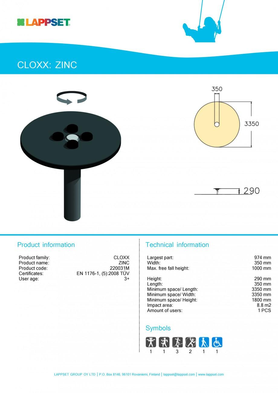 Pagina 1 - Echipament de joaca pentru copii ZINC 220031M LAPPSET CLOXX Fisa tehnica Engleza CLOXX:...