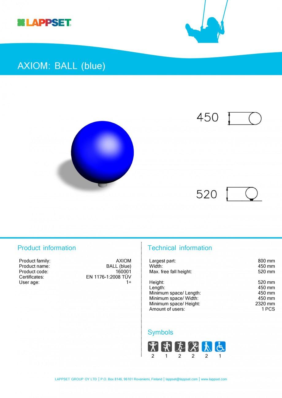Pagina 1 - Echipament de joaca pentru copii - BALL Blue 160001 LAPPSET Fisa tehnica Engleza AXIOM:...
