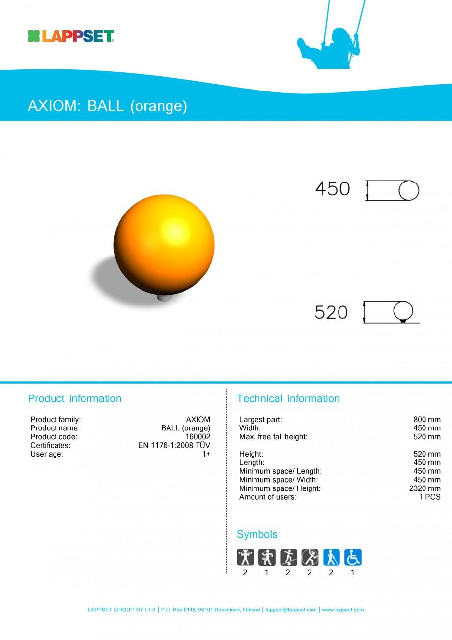 Pagina 1 - Echipament de joaca pentru copii - BALL Orange 160002 LAPPSET Fisa tehnica Engleza AXIOM:...