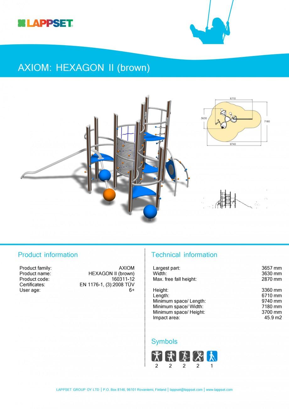 Pagina 1 - Echipament de joaca pentru copii - HEXAGON II 160311 LAPPSET Fisa tehnica Engleza AXIOM: ...