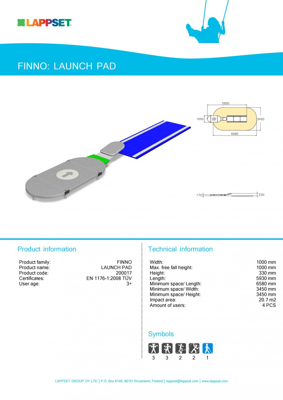Pagina 1 - Echipament de joaca pentru copii - LAUNCH PAD 200017 LAPPSET Fisa tehnica Engleza FINNO: ...