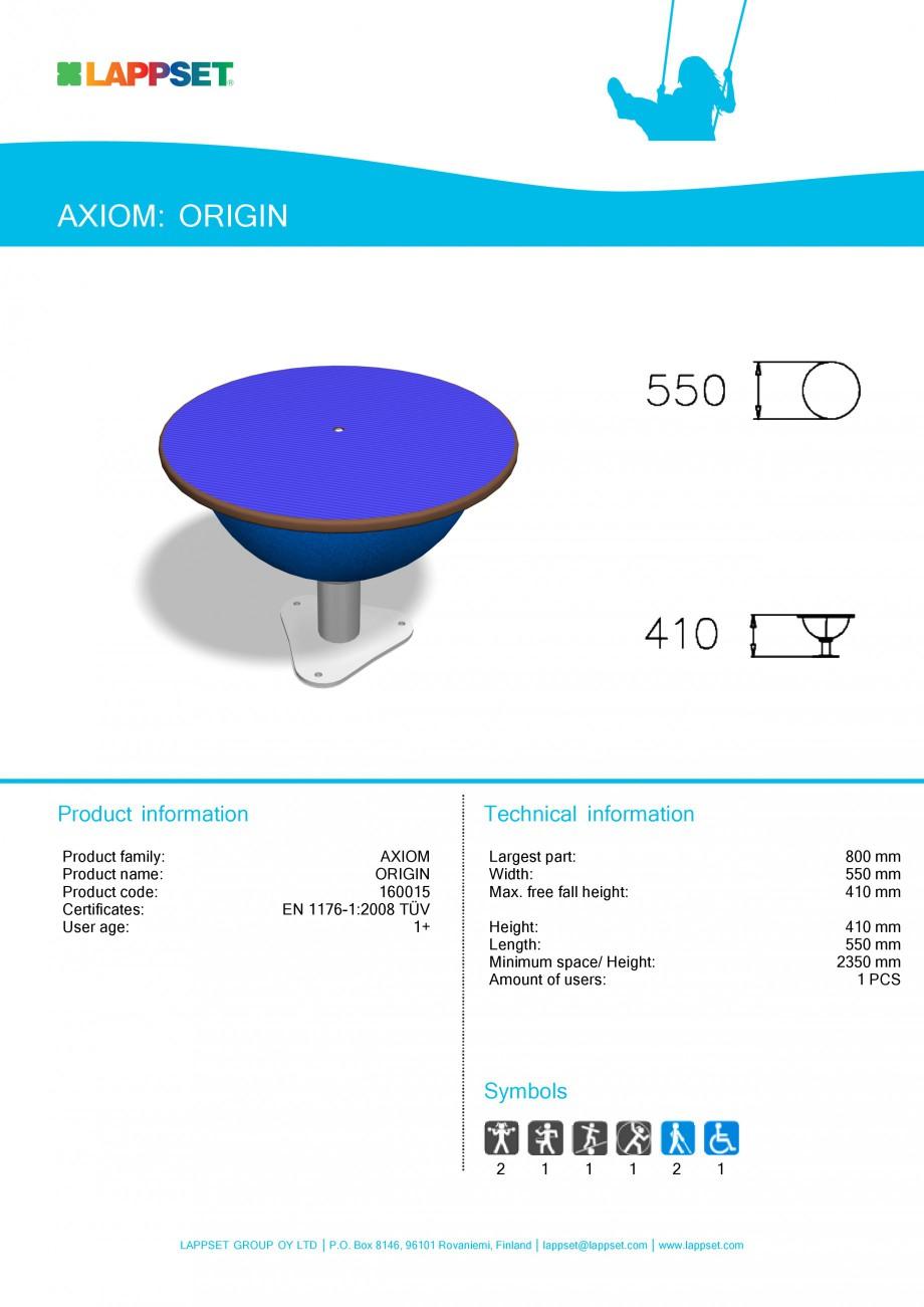 Pagina 1 - Echipament de joaca pentru copii - ORIGIN 160015 LAPPSET Fisa tehnica Engleza AXIOM:...