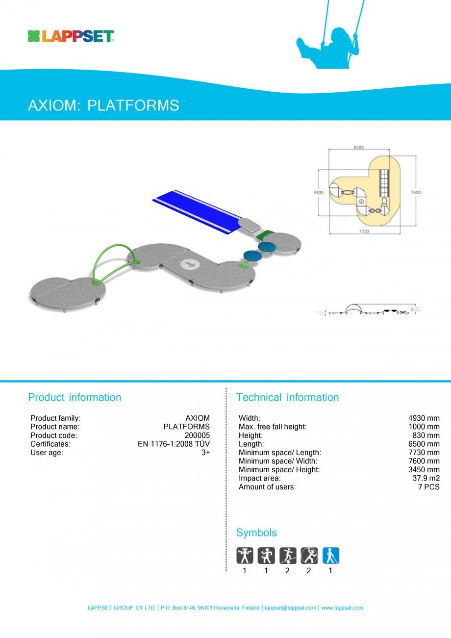 Pagina 1 - Echipament de joaca pentru copii - PLATFORMS 200005 LAPPSET Fisa tehnica Engleza AXIOM:...