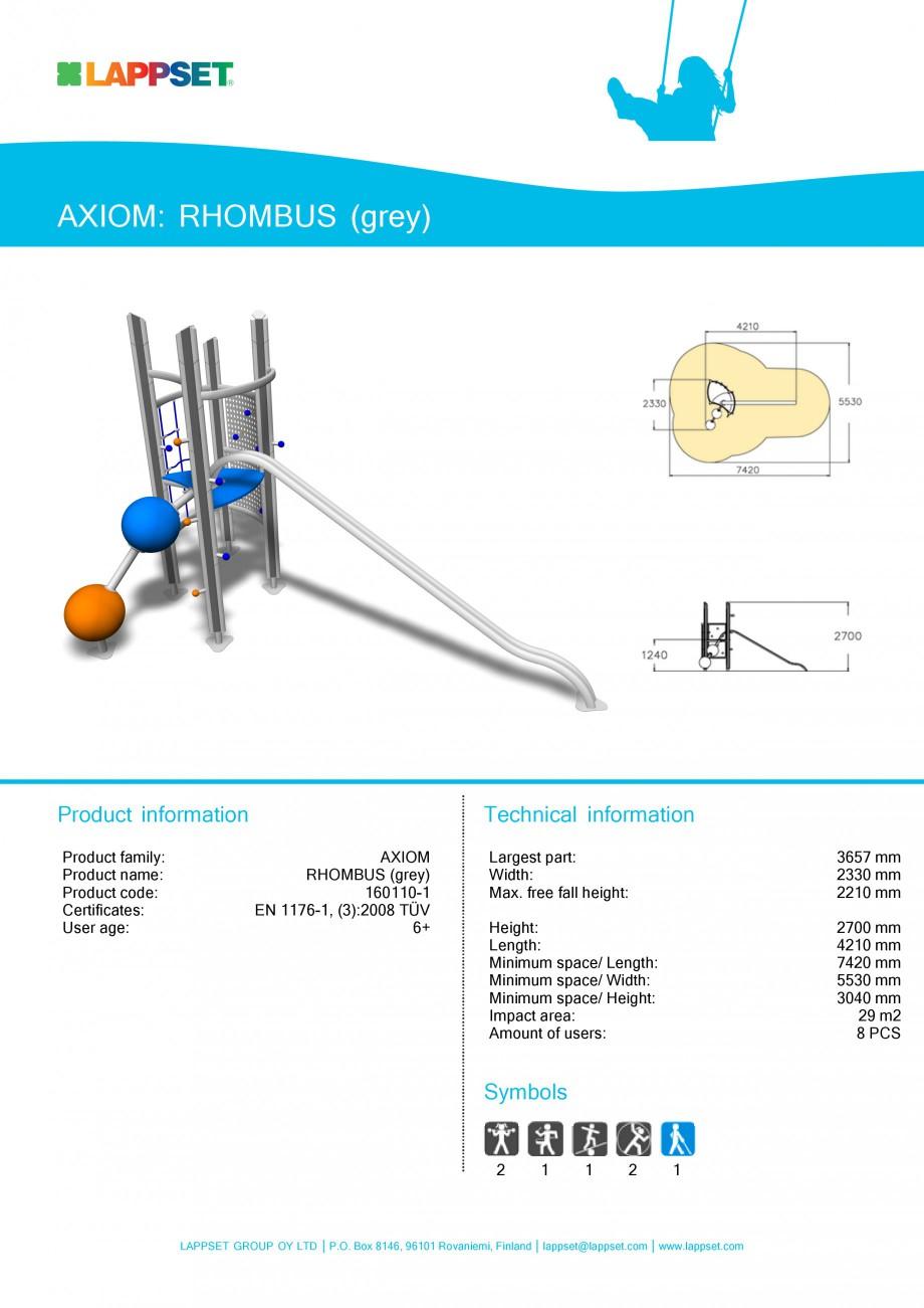 Pagina 1 - Echipament de joaca pentru copii - RHOMBUS 160110 LAPPSET Fisa tehnica Engleza AXIOM:...