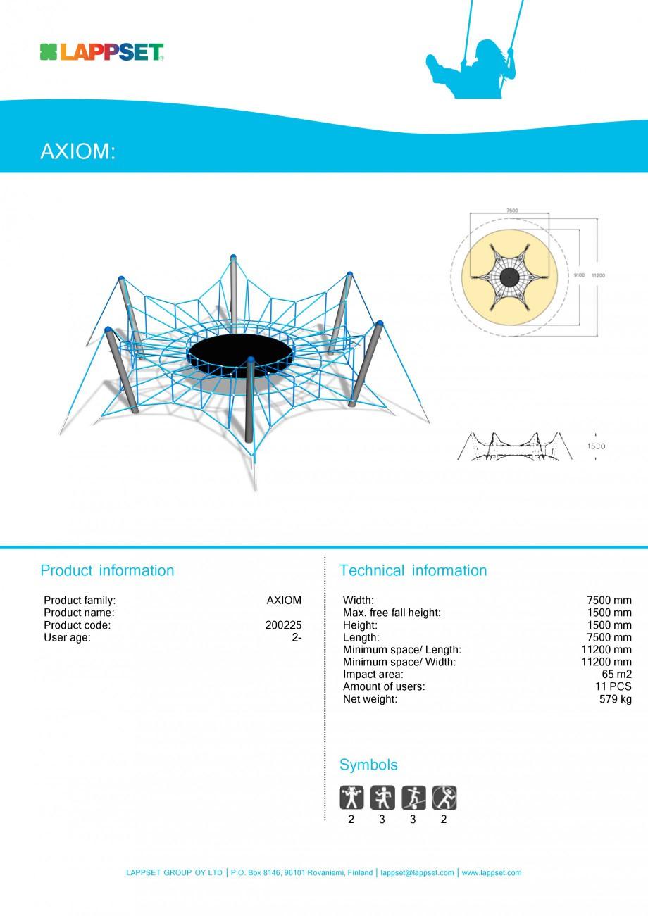 Pagina 1 - Echipament de joaca pentru copii - SPIDER 200225 LAPPSET Fisa tehnica Engleza AXIOM: ...